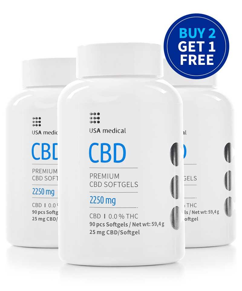 Buy Two Get One Free 25mg CBD Capsules 90pcs
