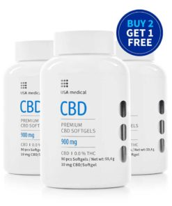 USA Medical 900mg CBD Softgels Buy Two Get One Free