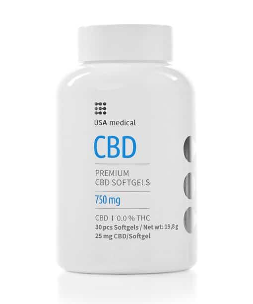 USA Medical 25mg CBD Softgels 30pcs